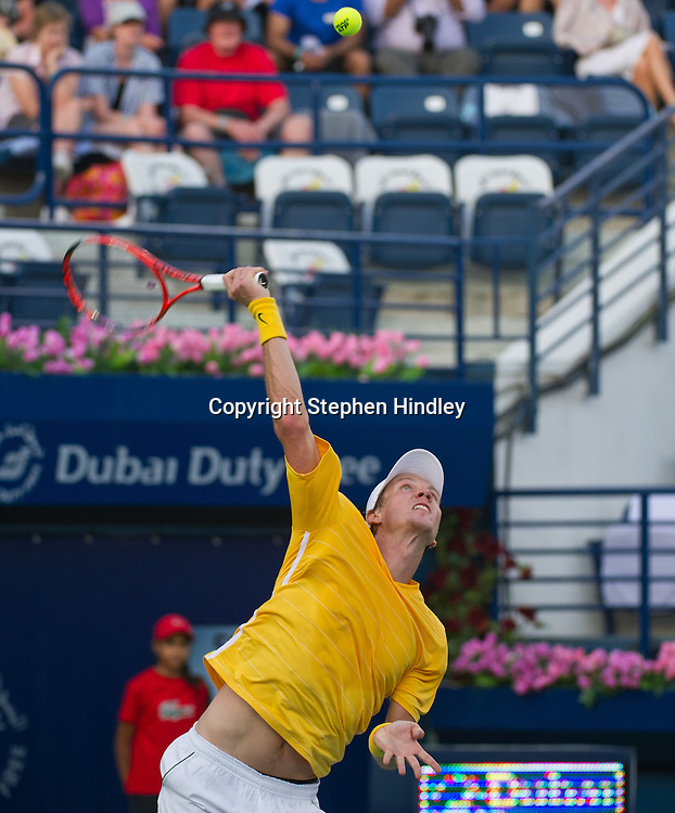 Tomas Berdych of the Czech Republic serves to Nikolay Davydenko of Russia during the second round of the Dubai Duty Free Tennis Championships, held at the Dubai Tennis Stadium in Dubai, UAE, Wednesday, February 23rd, 2011. Photo by: Stephen Hindley/SPORTDXB