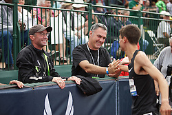 Olympic Trials Eugene 2012: men's 1500 meter final, Matthew Centrowitz congratulated by Alberto Salazar and Darren Tresure after making Olympic team