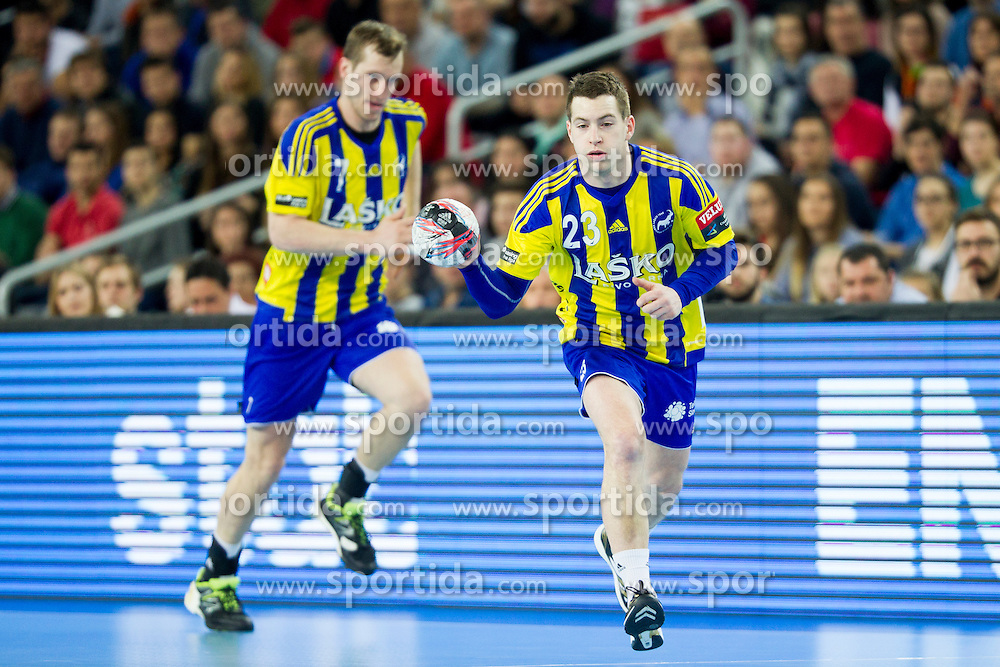 Miha Zarabec of RK Celje Pivovarna Lasko during handball match between PPD Zagreb (CRO) and RK Celje Pivovarna Lasko (SLO) in 13th Round of Group Phase of EHF Champions League 2015/16, on February 27, 2016 in Arena Zagreb, Zagreb, Croatia. Photo by Urban Urbanc / Sportida