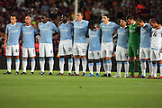 The Manchester City team line up to pay their respects to Espanyol club captain Daniel Jarque who died after suffering a cardiac arrest. The Joan Gamper Trophy match between Barcelona and Manchester City at the Camp Nou Stadium on August 19, 2009 in Barcelona, Spain. Manchester City won the match 1-0.
