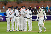 Wicket -  celebrates taking the wicket of George Bartlett of Somerset during the third day of the Specsavers County Champ Div 1 match between Somerset County Cricket Club and Yorkshire County Cricket Club at the Cooper Associates County Ground, Taunton, United Kingdom on 29 April 2018. Picture by Graham Hunt.