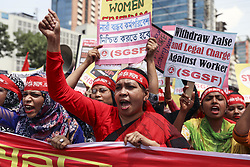 May 1, 2019 - Dhaka, Bangladesh - Bangladeshi garment workers and other labor organization members take part in a rally to mark International labor Day in Dhaka Bangladesh. (Credit Image: © Kazi Salahuddin Razu/NurPhoto via ZUMA Press)