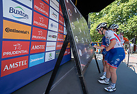 Lauren KITCHEN (AUS) FDJ Nouvelle Aquitaine &ndash; Futuroscope signs the Signature Board ahead of The Prudential RideLondon Classique. Saturday 28th July 2018<br /> <br /> Photo: Bob Martin for Prudential RideLondon<br /> <br /> Prudential RideLondon is the world's greatest festival of cycling, involving 100,000+ cyclists - from Olympic champions to a free family fun ride - riding in events over closed roads in London and Surrey over the weekend of 28th and 29th July 2018<br /> <br /> See www.PrudentialRideLondon.co.uk for more.<br /> <br /> For further information: media@londonmarathonevents.co.uk