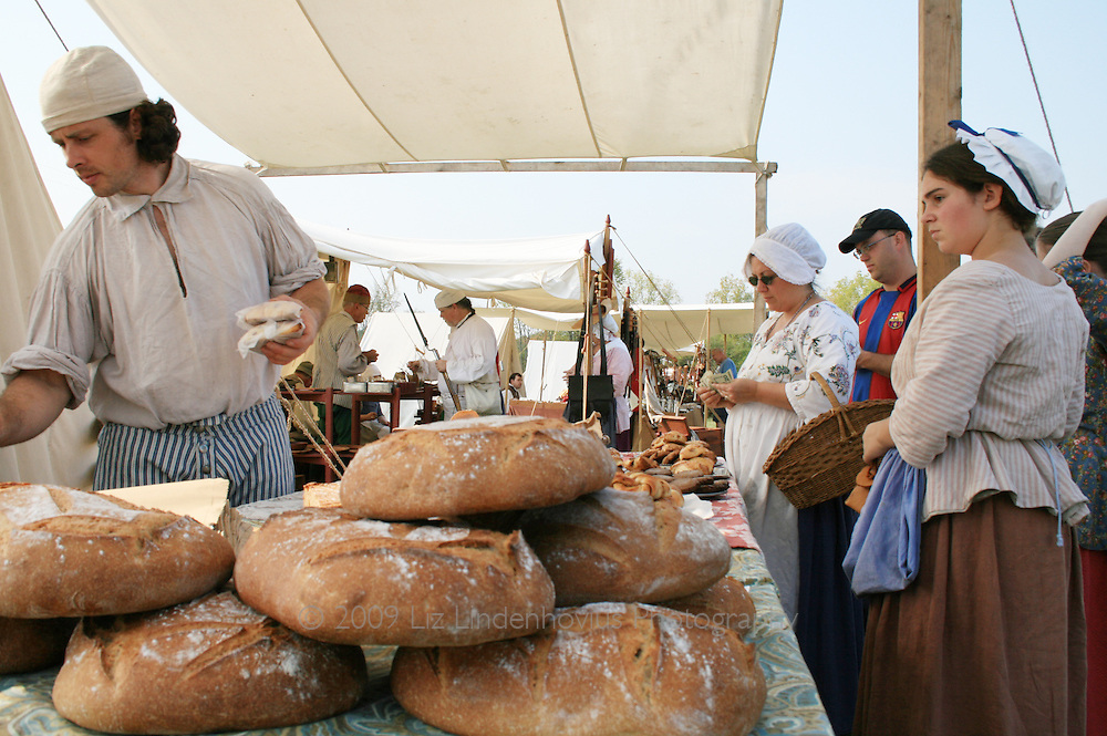 Vendor selling pastry and bread