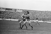 Cork is in possession as he tries to outrun Wexford during the All Ireland Senior Hurling Final, Cork v Wexford in Croke Park on the 5th September 1976. Cork 2-21, Wexford 4-11.
