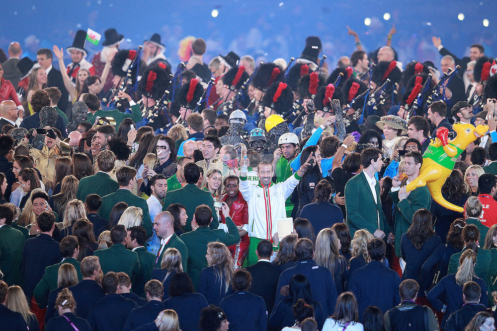 Athletes mingle during Closing Ceremonies during day 16 of the London Olympic Games in London, England, United Kingdom on August 12, 2012..(Jed Jacobsohn/for The New York Times)..
