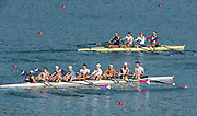 Aiguebelette, FRANCE, USA LM4- and USA LM8+, Training together.<br /> 2015 FISA World Rowing Championships, <br /> <br /> Venue, Lake Aiguebelette - Savoie. <br /> <br /> Thursday  27/08/2015  [Mandatory Credit. Peter SPURRIER/Intersport Images.