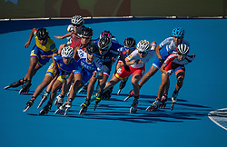 October 7, 2018 - Buenos Aires, Argentina - 181007 2018 Youth Olympic Games, Day 1: Competitors in action of the Roller Speed Skating Womens Combined Speed Event 5000m Elimination Final with eventual winner Gabriela Isabel Rueda Rueda COL in the front at The Youth Olympic Games, Buenos Aires, Argentina, Sunday 7th October 2018. Photo: Thomas Lovelock for OIS/IOC. Handout image supplied by OIS/IOC  (Credit Image: © Thomas Lovelock For Ois/Bildbyran via ZUMA Press)
