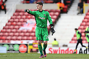 illness prevents AFC Wimbledon goalkeeper James Shea (1) from travelling, so AFC Wimbledon goalkeeper Joe McDonnell (24) gets his first start this season during the EFL Sky Bet League 1 match between Swindon Town and AFC Wimbledon at the County Ground, Swindon, England on 14 April 2017. Photo by Stuart Butcher.