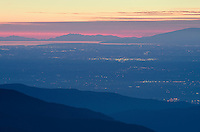 Strait of Georgia and lights of Vancouver British Columbia seen from Mount Baker Wilderness Washington