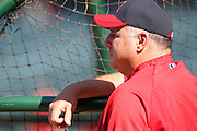 ANAHEIM, CA - APRIL  23:  Team manager Mike Scioscia #14 of the Los Angeles Angels of Anaheim watches batting practice before the game between the Boston Red Sox and the Los Angeles Angels of Anaheim on Saturday, April 23, 2011 at Angel Stadium in Anaheim, California. The Red Sox won the game in a 5-0 shutout. (Photo by Paul Spinelli/MLB Photos via Getty Images) *** Local Caption *** Mike Scioscia