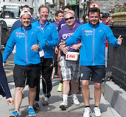"""03/06/2014 After walking 108 miles from Donegal to Galway, Ronnie Whelan's """"Myaware.ie Annual Walk"""" in aid of Myasthenia, arrive at Hotel Meyrick in Galway city centre was Danny O'Carroll aka Buster from Mrs. Brown's boys son of Brendan, Ronnie Whelan and Mick Delaney and Love/Hate's Elmo Laurence Kinlan. Photo:Andrew Downes"""