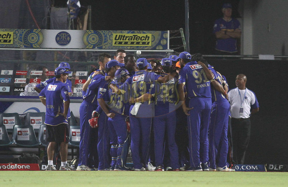 Rajasthan Royals huddle before the start during match 30 of the the Indian Premier League (IPL) 2012  between The Rajasthan Royals and the Royal Challengers Bangalore held at the Sawai Mansingh Stadium in Jaipur on the 23rd April 2012..Photo by Shaun Roy/IPL/SPORTZPICS