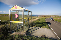 Bus stop in the countryside on Orkney; Scotland,