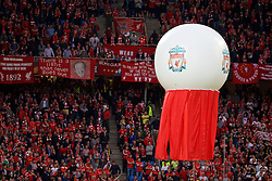 BASEL, SWITZERLAND - Wednesday, May 18, 2016: A floating ball during the opening ceremony of the UEFA Europa League Final between Liverpool and Sevilla at St. Jakob-Park. (Pic by David Rawcliffe/Propaganda)