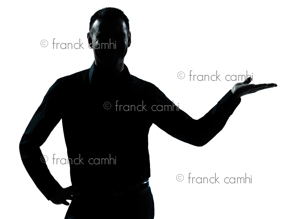 one caucasian business man hand open portrait silhouette in studio isolated on white background