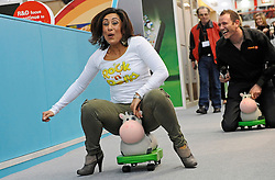Toy Maker Worlds Apart launched their latest innovative 2-in-1 rocking and ride on toy called the Rock 'n' Rolla at the London Toy Fair today. Former TV Apprentice star Saira Khan helped to launch the toy by having a Rock 'n' Rolla Derby race with her son Zac and three other toddlers. The toy which is made up of an inflatable animal shape with a plastic base and detachable wheels has been a big hit with both parents and kids visiting the show at the Kensington Olympia, west London..Photographer: Lee Durant.Date: 25/01/11