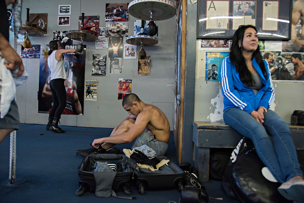 June 8, 2017 / Hollywood, Calif.<br /> <br /> &quot;Maybe I'll be sponsored by a luggage company someday,&quot; said Aaron Pico, 20, joking that he lives out of a suitcase somedays. After a two hour boxing workout, he sits down next to the rolling luggage that goes everywhere with him, unlaces his shoes and changes out of his sweaty gym clothes, for the ride home. (Melissa Lyttle for ESPN)