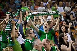 Supporters of Union Olimpija during basketball match between KK Union Olimpija and KK Rogaska in 2nd Final game of Liga Nova KBM za prvaka 2016/17, on May 19, 2017 in Hala Tivoli, Ljubljana, Slovenia. Photo by Vid Ponikvar / Sportida