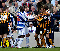 Fotball<br /> Foto: SBI/Digitalsport<br /> NORWAY ONLY<br /> <br /> Hull City v Queens Park Rangers<br /> Coca Cola Championship.<br /> 06/08/2005.<br /> <br /> Tempers flared in the game as both sets of players struggled to find the back of the net.