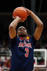 February 3, 2011; Stanford, CA, USA;  Arizona Wildcats guard/forward Kevin Parrom (3) shoots a free throw against the Stanford Cardinal during the second half at Maples Pavilion.  Arizona defeated Stanford 78-69.