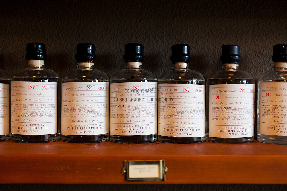 The Apothecary Tasting Room adjacent to the distillery is open to the public and features the Apothecary Line, a specialty collection of small-batch, limited edition spirits packaged in individually numbered 375ml bottles.  The line is exclusively available in Portland, Oregon. Pictured is the Oregon Ouzo.