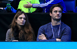 Jessica Lowndes and Thom Evans during day five of the Barclays ATP World Tour Finals at The O2, London.