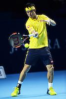 24.10.2016;  Basel; Tennis - Swiss Indoors 2016; Kei Nishikori (JPN)<br /> (Steffen Schmidt/freshfocus) <br /> Nishikori versus Dusan Lajovic at first change of ends