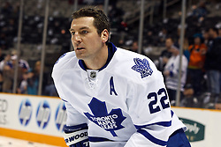 January 11, 2011; San Jose, CA, USA; Toronto Maple Leafs defenseman Francois Beauchemin (22) warms up before the game against the San Jose Sharks at HP Pavilion. Toronto defeated San Jose 4-2. Mandatory Credit: Jason O. Watson / US PRESSWIRE