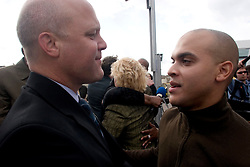 01 January, 2006. New Orleans, Louisiana. Post Katrina aftermath.<br /> New Year's Day in New Orleans, Louisiana. Louisiana Rebirth interfaith service at the Superdome rings out the old disastrous 2005 and rings in what politicians and locals hope will be a successful 2006.  New Orleans jazz legend Irvin Mayfield played a tribute to his father who drowned in the storms. Seen here with Lieutenant Governor Mitch Landrieu after the service.<br /> Photo; ©Charlie Varley/varleypix.com