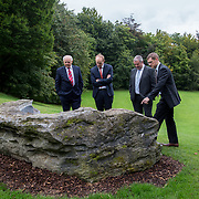 29.08. 2017.                                                   <br /> A new scholarship, the Roibeárd Thornton Memorial-Janssen Scholarship, was launched at the University of Limerick, named in memory of Dr Roibeárd Thornton, a graduate of the University. Dr Thornton, who had been working with Janssen Pharmaceuticals in Cork for over 4 years, had just returned to Limerick with his family when he was tragically killed in a car crash in January 2016.<br /> <br /> Pictured at the event were Dr Roibeárd Thornton's father Sean Thornton with Janssen representatives, Dr. Patrick Sheehy, Declan Lowney and Kieran O'Callaghan.<br /> <br /> <br /> A special seat using rock from the family land of Dr Roibeárd Thornton, was commissioned by his UL science family and brought to campus as a permanent reminder of his gentle soul. It is positioned close to Plassey House overlooking a grass valley with the River Shannon in view. Picture: Alan Place<br /> <br /> <br /> For more information, contact:<br /> Sarah Hartnett, University of Limerick Foundation Tel: 086-3872863; Email: sarah.hartnett@ul.ie