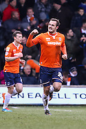 Luke Wilkinson of Luton Town celebrates scoring his team's second goal against Cambridge United to make it 2-0 during the Sky Bet League 2 match at Kenilworth Road, Luton<br /> Picture by David Horn/Focus Images Ltd +44 7545 970036<br /> 31/01/2015