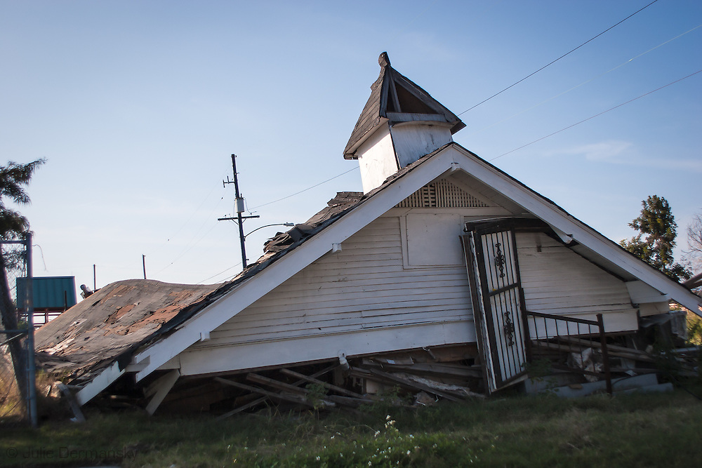 Nov. 06 2006,  Church damaged by Hurricane Katriana  in New Orleans lower 9th Ward.