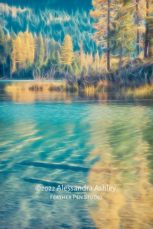 Abstract of Holland Lake, Montana, highlighting colors of glacial water and autumn foliage reflections.