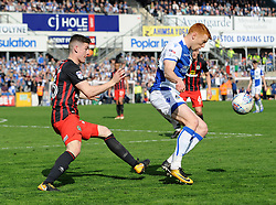 Rory Gaffney of Bristol Rovers is challenged by Darragh Lenihan of Blackburn Rovers - Mandatory by-line: Neil Brookman/JMP - 14/04/2018 - FOOTBALL - Memorial Stadium - Bristol, England - Bristol Rovers v Blackburn Rovers - Sky Bet League One