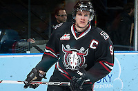 KELOWNA, CANADA -FEBRUARY 5: Conner Bleackley C #9 of the Red Deer Rebels skates during warm up against the Kelowna Rocketson February 5, 2014 at Prospera Place in Kelowna, British Columbia, Canada.   (Photo by Marissa Baecker/Getty Images)  *** Local Caption *** Conner Bleackley;