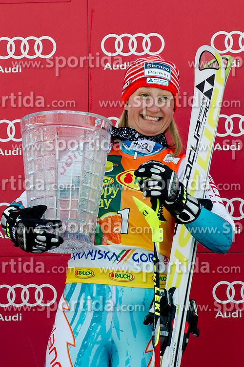 22.01.2012, Podkorn, Kranjska Gora, SLO, FIS Weltcup Ski Alpin, Kranjska Gora, Damen, Slalom, Podium, im Bild Winner of Zlata lisica trophy Tanja Poutiainen of Finland at ceremony after 2nd Run of 48th Golden Fox Audi Alpine FIS Ski World Cup Ladies Slalom, on January 22, 2012 in Podkorn, Kranjska Gora, Slovenia. EXPA Pictures © 2012, PhotoCredit: EXPA/ Sportida/ Matic Klansek Velej..***** ATTENTION - OUT OF SLO *****