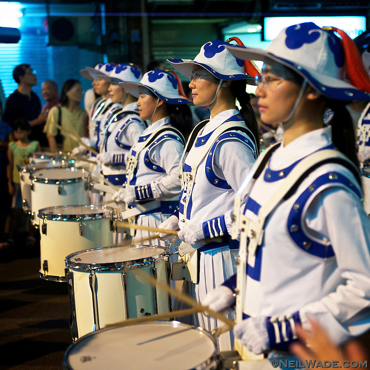 A Taiwanese marching band performs in the Keelung Ghost Festival Parade.