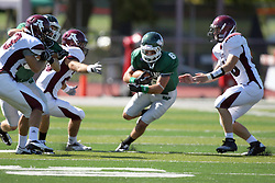 08 September 2012:  Joe Musso finds room to run in the middle during an NCAA division 3 football game between the Alma Scots and the Illinois Wesleyan Titans which the Titans won 53 - 7 in Tucci Stadium on Wilder Field, Bloomington IL
