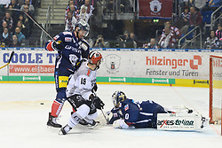 01.03.2019, O2 World, Berlin, GER, DEL, Eisbaeren Berlin vs Koelner Haie, 52. Runde, im Bild v.l. Constantin Braun - Eisbaeren, Jason Akeson #19 - Haie, Kevin Poulin - Eisbaeren - rettet // during the DEL 52th round match between Eisbaeren Berlin and Koelner Haie at the O2 World in Berlin, Germany on 2019/03/01. EXPA Pictures © 2019, PhotoCredit: EXPA/ Eibner-Pressefoto/ Uwe Koch<br /> <br /> *****ATTENTION - OUT of GER*****