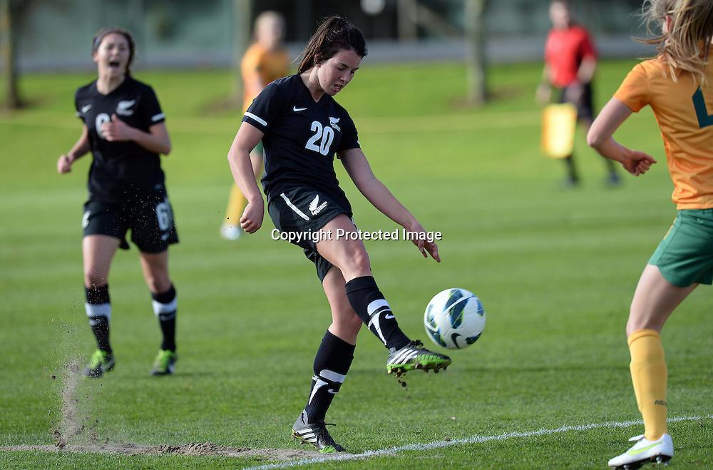 Emma Rolston in action. Junior Football Ferns v Young Matildas. Kristin School, Albany. Thursday 25 July 2013. Photo: Andrew Cornaga/Photosport.co.nz