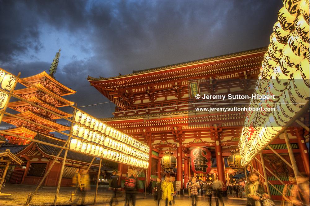Hozomon Gate at Senso-ji shrine, and 5-storey pagoda, in in Tokyo, Japan, Monday 7th November 2011.