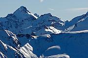 View of Pic de Maubermé (2880m) from Pic de la Calabasse (2210 metres), near Saint-Lary, Pays Couserans, Ariege, Pyrenees, France.