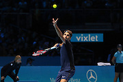 Roger Federer serves during the Barclays ATP World Tour Finals at the O2 Arena, London, United Kingdom on 15 November 2015. Photo by Phil Duncan.