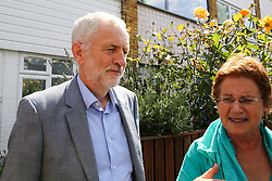 © Licensed to London News Pictures. 11/07/2019. London, UK. Leader of the Labour Party JEREMY CORBYN (L) leaves his north London home this morning amid claims (by the BBC Panorama programme ) that senior Labour figures interfered in the process to investigate anti-semitism claims. Photo credit: Dinendra Haria/LNP