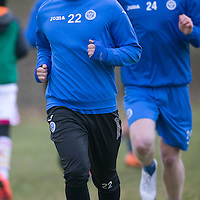 St Johnstone Training....13.02.15<br /> Lee Croft pictured during training this morning with Brian Easton at McDiarmid Park ahead of tomorrow's game against Celtic<br /> Picture by Graeme Hart.<br /> Copyright Perthshire Picture Agency<br /> Tel: 01738 623350  Mobile: 07990 594431