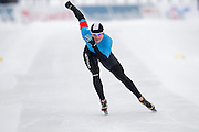 Katarzyna Wozniak (WTL Stegny Warszawa) from Poalnd competes during Polish Championships at Sprint Speed Skating competition on Stagny Ice Track in Warsaw, Poland on January 29, 2014.<br /> <br /> Poland, Warsaw, January 29, 2014.<br /> <br /> Picture also available in RAW (NEF) or TIFF format on special request.<br /> <br /> For editorial use only. Any commercial or promotional use requires permission.<br /> <br /> Mandatory credit:<br /> Photo by &copy; Adam Nurkiewicz / Mediasport