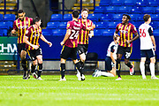 Bradford City defender Paudie O'Connor celebrates his goal with team mates during the EFL Trophy match between Bolton Wanderers and Bradford City at the University of  Bolton Stadium, Bolton, England on 3 September 2019.