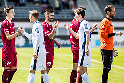 Bojic Momir of NK Triglav  and Kumer Zan of NK Triglav  with Matija Kavcic of ND Gorica during Football match between NK Triglav Kranj and ND Gorica in 30th Round of Prva liga Telekom Slovenije 2018/19, on May 2nd, 2019, in Sports park Kranj, Slovenia. Photo by Grega Valancic / Sportida