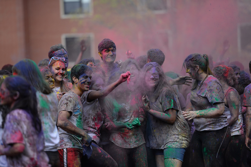 4/23/16 – Medford/Somerville, MA – The Tufts Hindu Students Council celebrates Holi, the festival of colors and spring, on the Residential Quad with other Tufts students on April 23, 2016. (Sofie Hecht / The Tufts Daily)